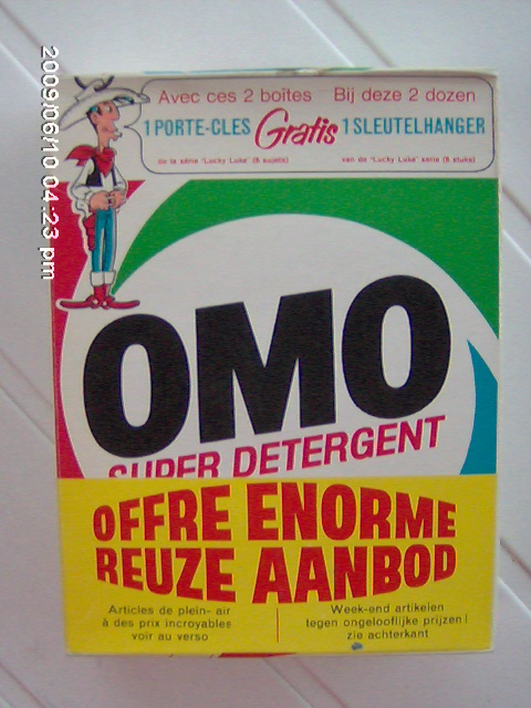 Emballage original du paquet de lessive OMO Lucky Luke